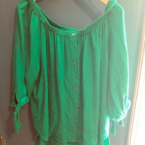 Fever XL Blouse in Green with ties sleeves